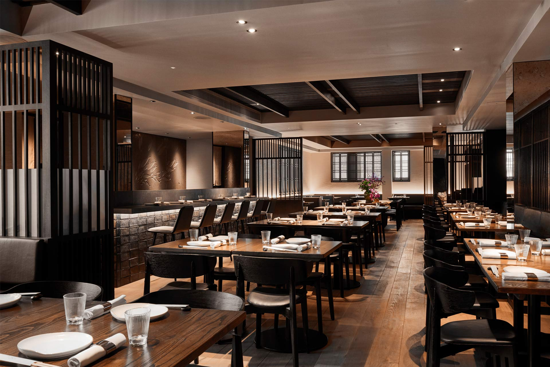 An interior shot of TOKii, the in-house restaurant at The Prince Akatoki, London