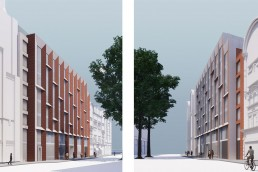 A rendering of a new boutique hotel on Vauxhall Bridge Road in Victoria, London