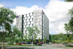 A rendering of a new Premier Inn hotel in Milton Keynes, UK