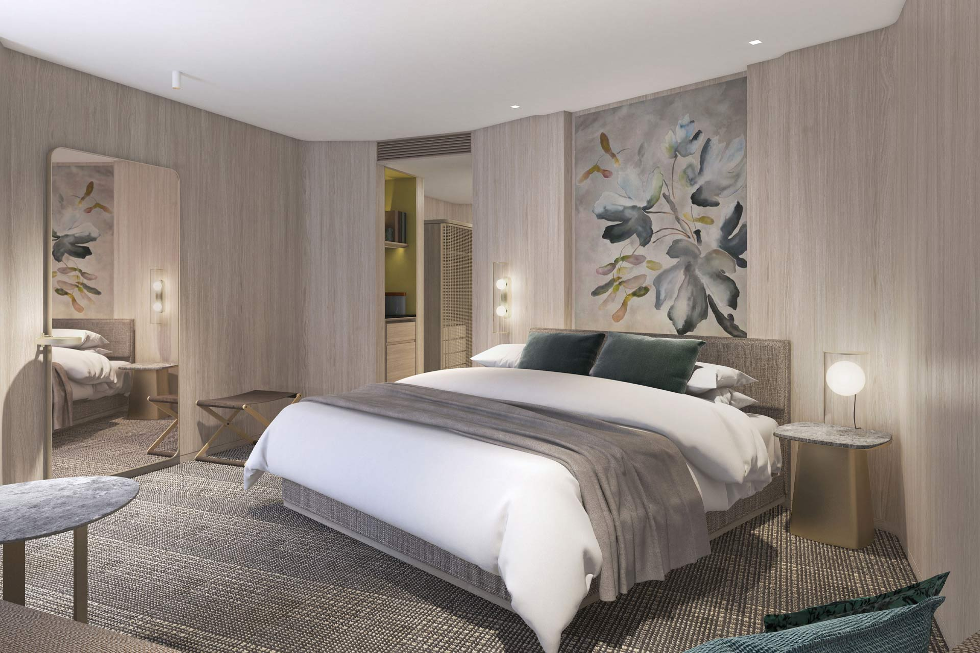A mock-up guestroom at Pan Pacific London