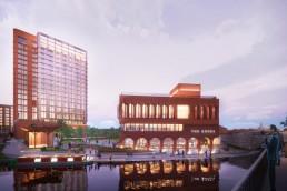 A rendering of a new mixed-use development in Nottingham, UK