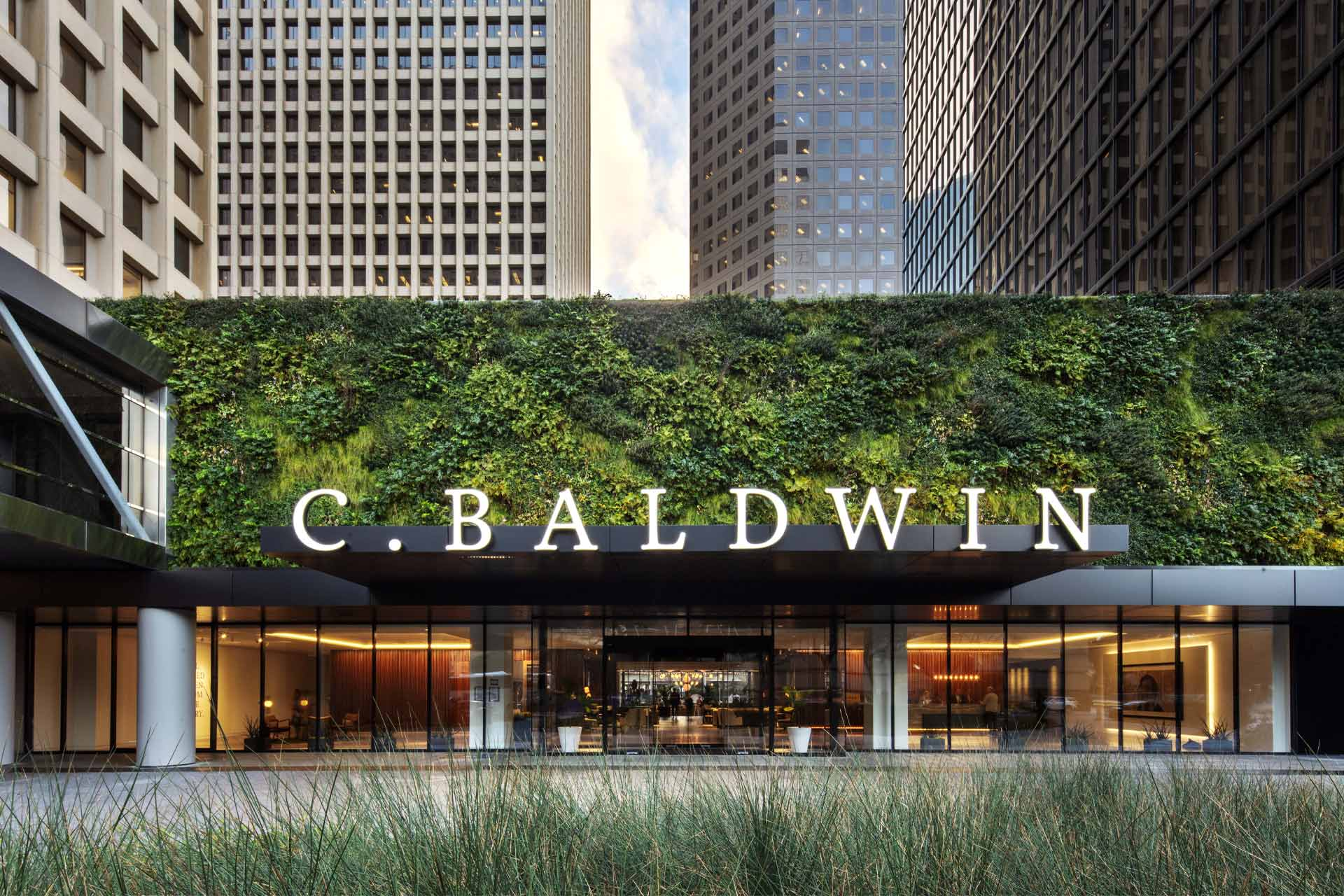 The exterior facade at C. Baldwin Hotel in Houston, Texas