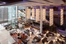 The new lobby atrium at JW Marriott Los Angeles LA Live