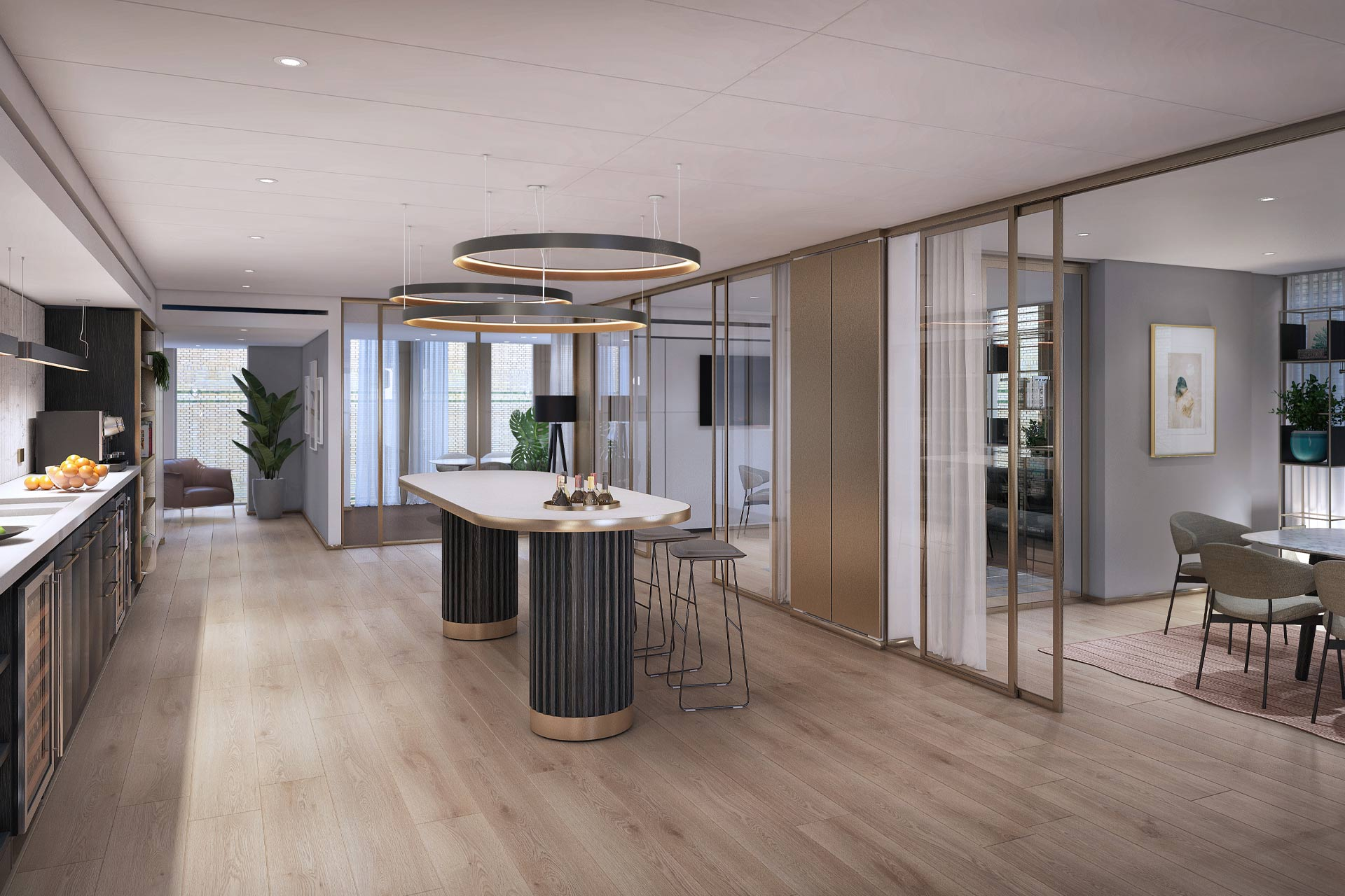 A rendering of a meeting space at Pan Pacific London